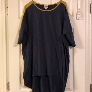 Lularoe Irma top. Navy, gold stripe shoulder. XL.